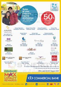 Discount upto 50% at range of hotels for Commercial Bank Credit Card