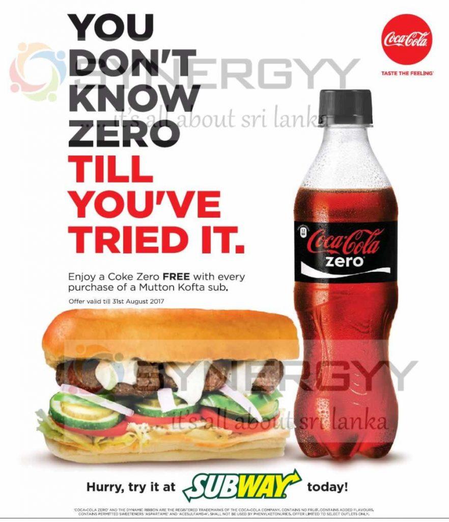 FREE Coke Zero Free with Mutton Kofta Sub at Subway Sri Lanka