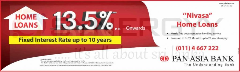 Pan Asia Bank Nivasa Home Loans – Interest rate lowest as 13.50% per annum