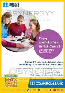 Pay your British Council Fee by Commercial Bank Credit card and enjoy 12 Month interest free instalment