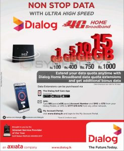Dialog 4G Home Broadband – Packages available from Rs. 100- Upwards
