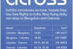 Indigo Flies to Colombo to & from Bengaluru and Chennai