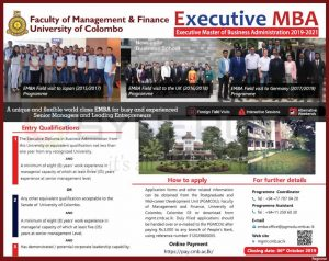 Executive MBA 20192020 from University of Colombo
