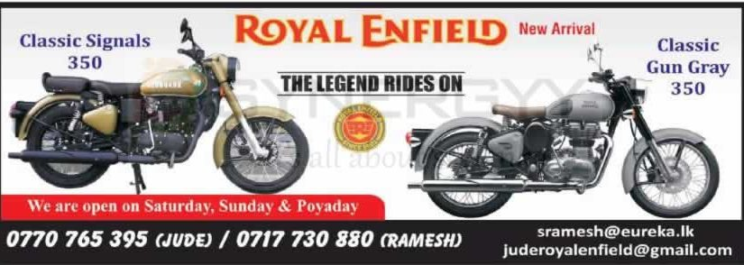 Royal Enfield Motor Cycles Now available in Sri Lanka; Prices starting from for Rs. 1,350,000/- – October 2019
