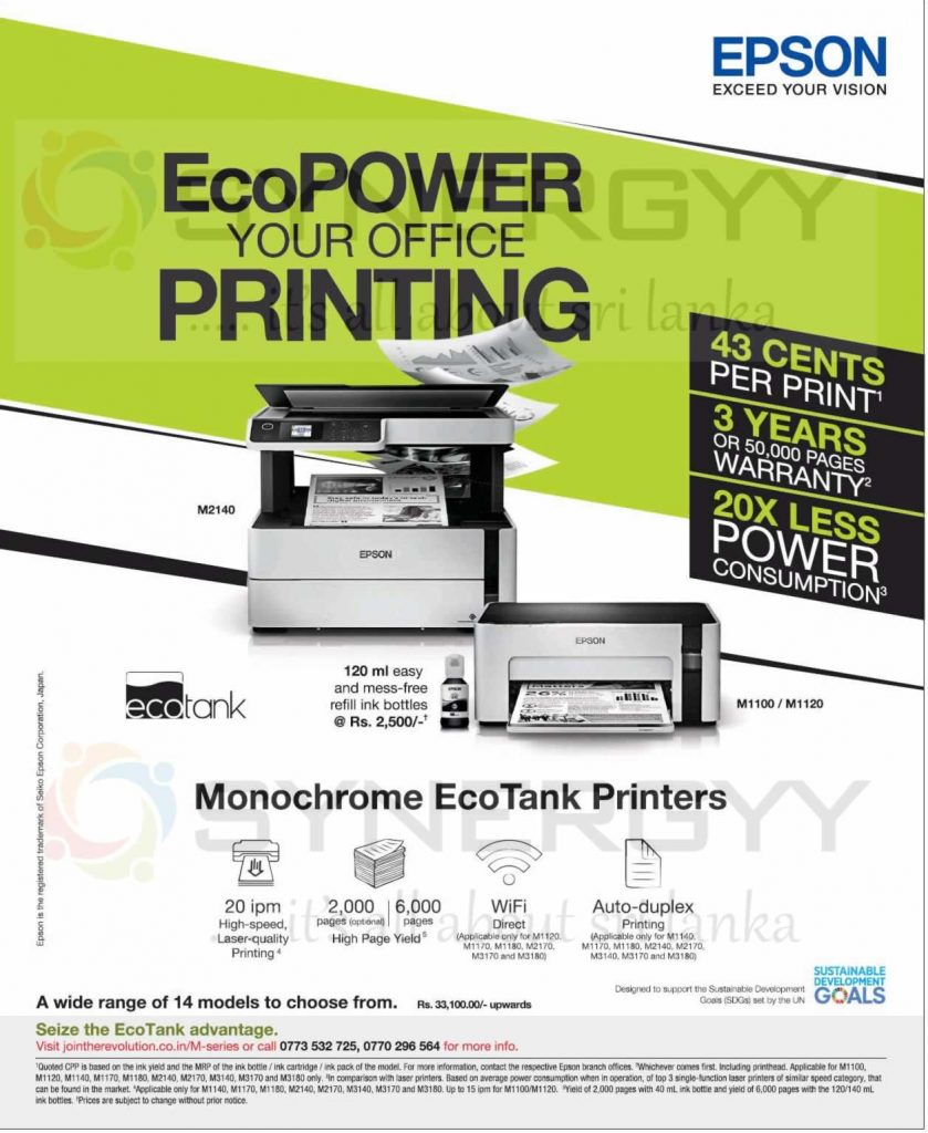 LKR. 0.43 per print by Epson Printer now available for Rs. 33,100- upwards