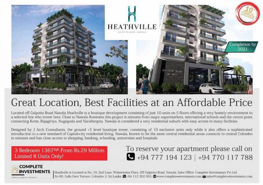 3 Bedroom Apartment in Nawala for LKR.29 Million